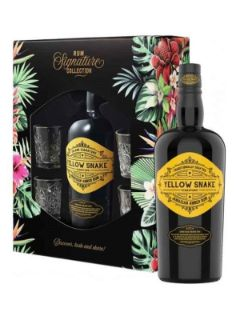 Yellow Snake Jamaican Rum Gift set   4 Glasses 70cl 40%