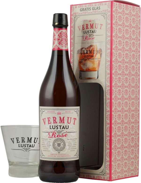 Lustau Vermut rose 75 cl 15%   Glass Giftpack